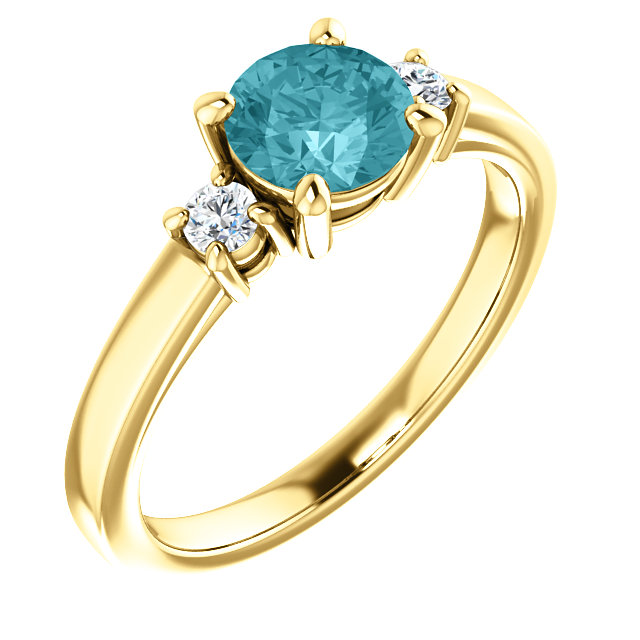 Must Have 14 Karat Yellow Gold Round Genuine Blue Zircon & 1/8 Carat Total Weight Diamond Ring