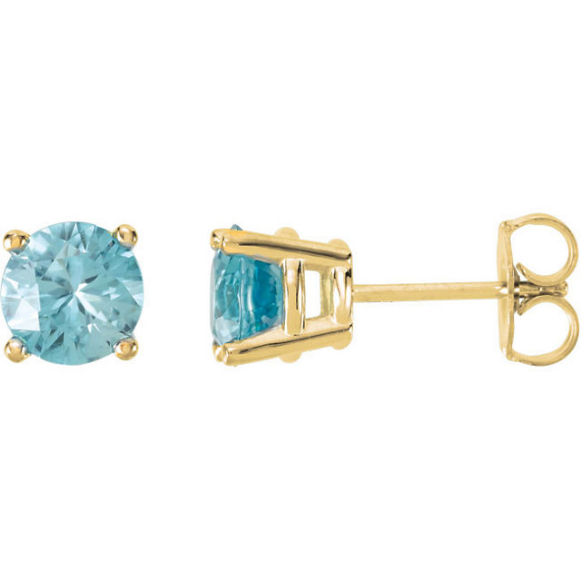 Easy Gift in 14 Karat Yellow Gold 6mm Round Blue Zircon FriCaration Post Stud Earrings
