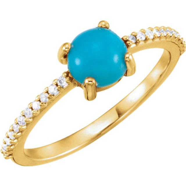 Great Buy in 14 Karat Yellow Gold 6mm Round Cabochon Turquoise & 0.12 Carat Total Weight Diamond Ring