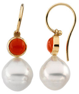14KT Yellow Gold 6mm Round Carnelian Dangle Earrings