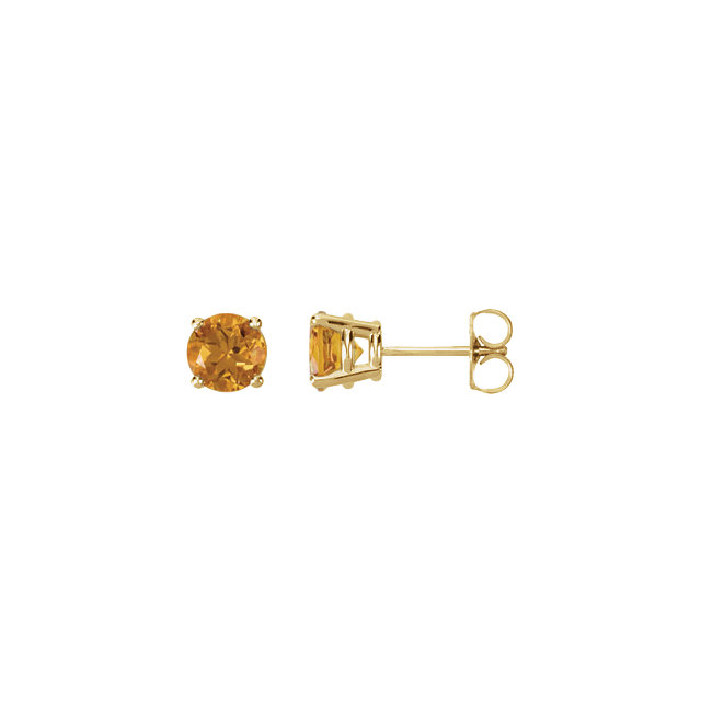Appealing Jewelry in 14 Karat Yellow Gold 6mm Round Citrine FriCaration Post Stud Earrings