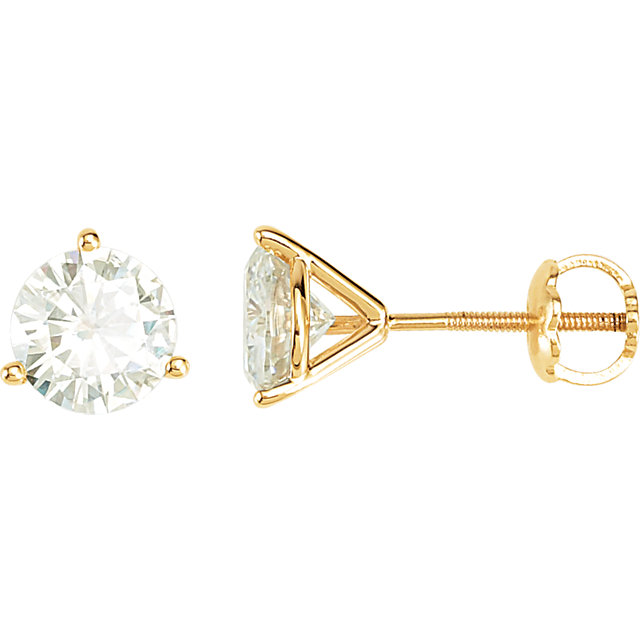 14 KT Yellow Gold 6mm Round Forever Classic Moissanite Earring
