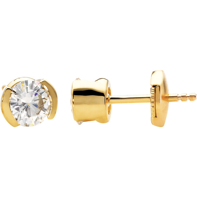 14KT Yellow Gold 6mm Round Forever Classic Moissanite Earrings