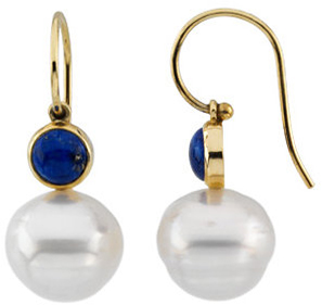14KT Yellow Gold 6mm Round Lapis Dangle Earrings