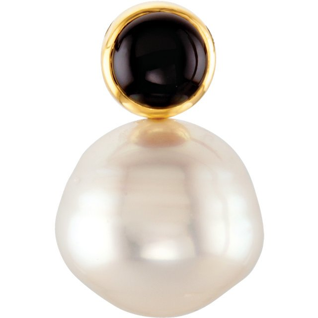 14KT Yellow Gold 6mm Round Onyx & 12mm South Sea Cultured Pearl Pendant