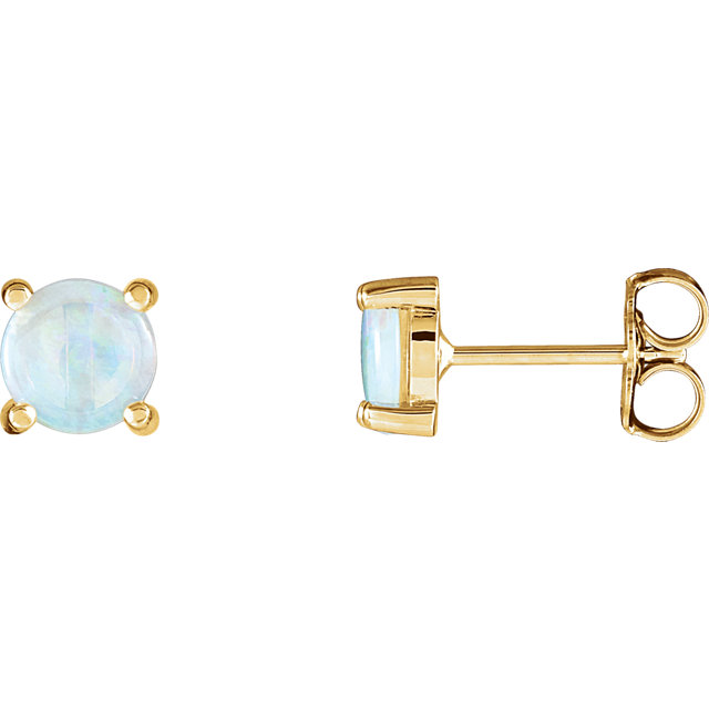 Stunning 14 Karat Yellow Gold Opal Cabochon Earrings