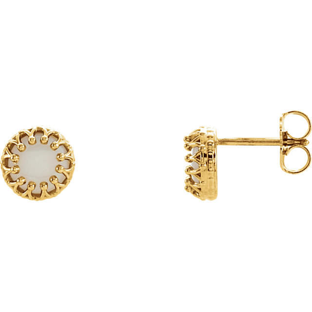 Buy Real 14 KT Yellow Gold 6mm Round Opal Earrings
