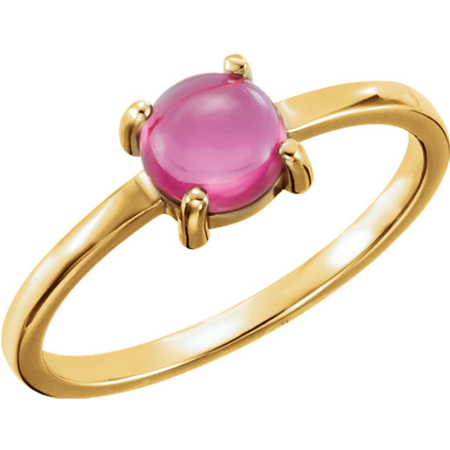 Jewelry Find 14 KT Yellow Gold 6mm Round Pink Tourmaline Cabochon Ring
