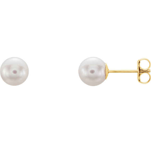 Genuine 14 Karat Yellow Gold 6mm White Akoya Pearl Earrings