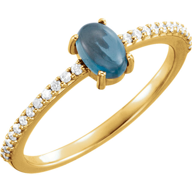 Graceful 14 Karat Yellow Gold 6x4mm Cabochon Oval Genuine London Blue Topaz & 1/8 Carat Total Weight Diamond Ring