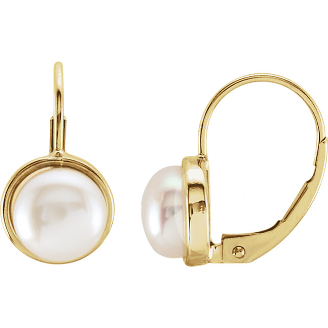 Appealing Jewelry in 14 Karat Yellow Gold 7.5mm Freshwater Cultured Pearl Lever Back Earrings