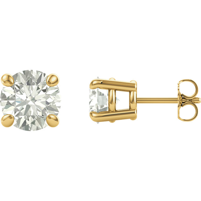 14KT Yellow Gold 7.5mm Round Forever Classic Moissanite Earrings