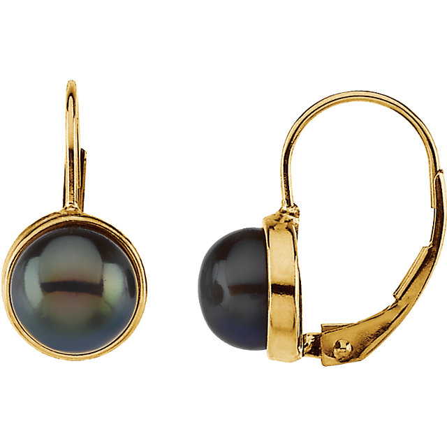 Surprise Her with  14 Karat Yellow Gold 7-7.5mm Black Freshwater Cultured Pearl Lever Back Earrings