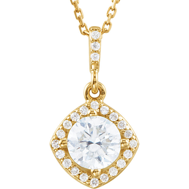 14 Karat Yellow Gold 0.85 Carat Diamond Halo-Style 18
