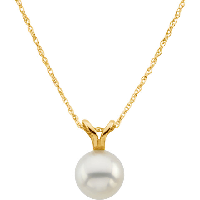 Appealing Jewelry in 14 Karat Yellow Gold Akoya Cultured Pearl 18