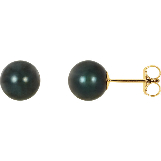 Very Nice 14 Karat Yellow Gold 7mm Black Akoya Cultured Pearl Earrings