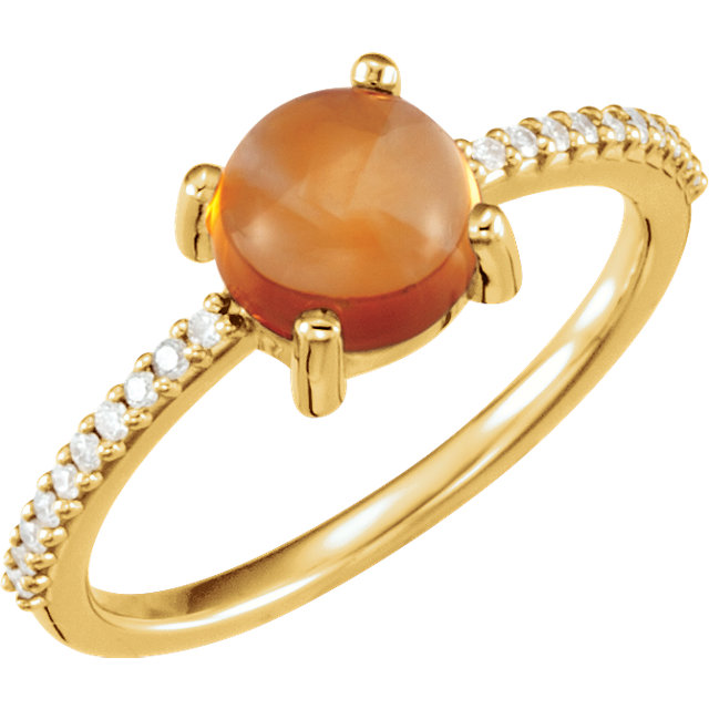 Must See 14 Karat Yellow Gold 7mm Round Cabochon Citrine & 0.10 Carat Total Weight Diamond Ring