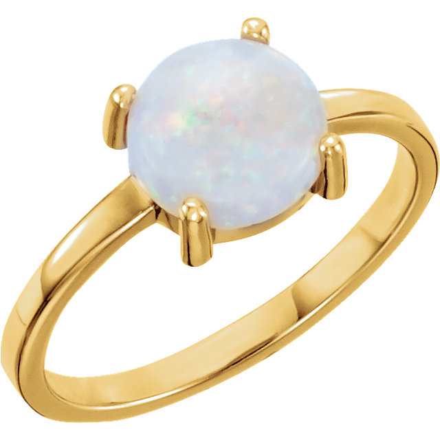 Great Buy in 14 Karat Yellow Gold 7mm Round Opal Cabochon Ring