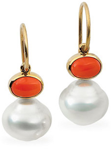 14KT Yellow Gold 7x5mm Carnelian & 11mm South Sea Cultured Pearl Earrings