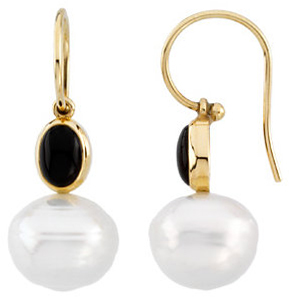 14KT Yellow Gold 7x5mm Onyx Semi-set Earrings for Pearls