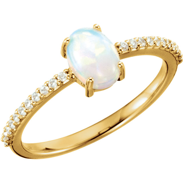 Great Gift in 14 Karat Yellow Gold 7x5mm Oval Cabochon Genuine Chatham Created Created Opal & 0.10 Carat Total Weight Diamond Ring