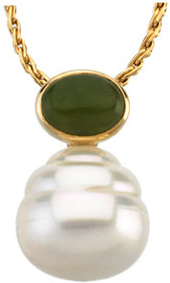 14KT Yellow Gold 7x5mm Oval Nephrite Jade Dangle Pendant