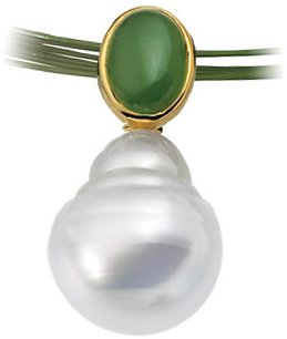 14KT Yellow Gold 7x5mm Oval Nephrite Jade Semi-set Pendant for Pearl