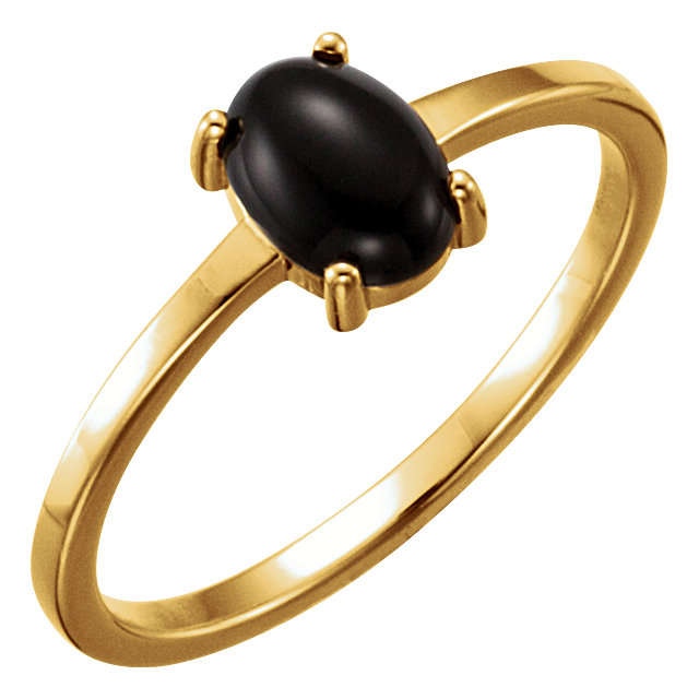 Stunning 14 Karat Yellow Gold 7x5mm Oval Onyx Cabochon Ring