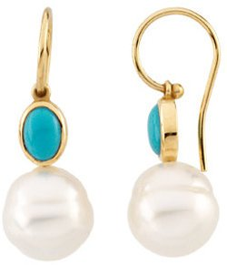 14KT Yellow Gold 7x5mm Turquoise & 11mm South Sea Cultured Pearl Earrings