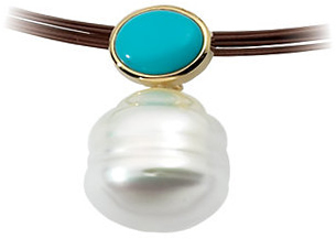 14KT Yellow Gold 7x5mm Turquoise & South Sea Cultured Pearl Pendant