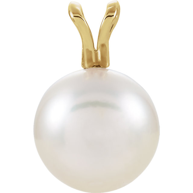 Great Gift in 14 Karat Yellow Gold Akoya Cultured Pearl Pendant