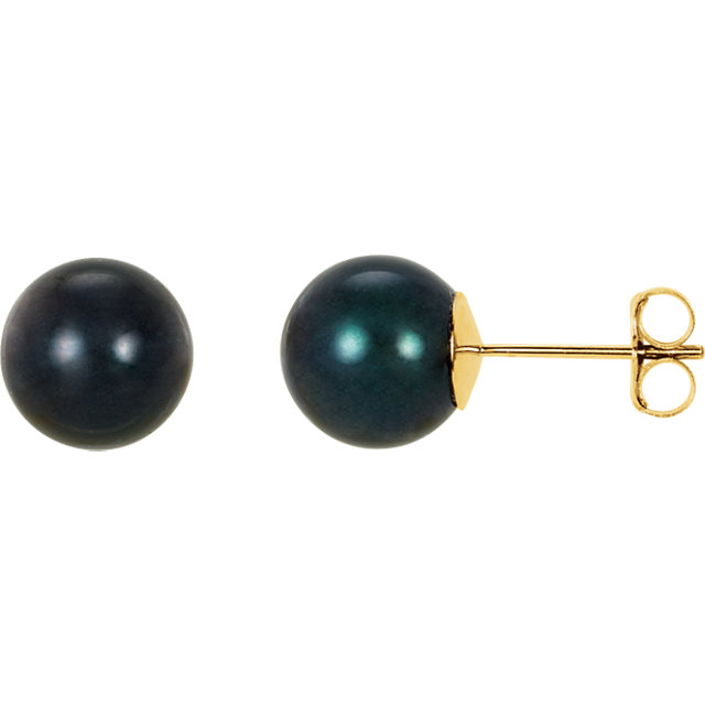 Perfect Gift Idea in 14 Karat Yellow Gold 8mm Black Akoya Cultured Pearl Earrings