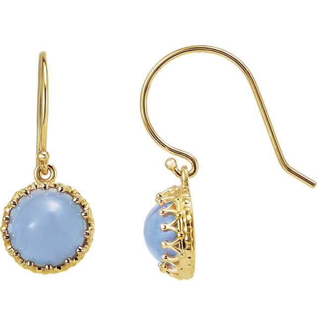 14 Karat Yellow Gold 8mm Blue Chalcedony Dangle Earrings
