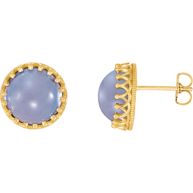 Fine 14 KT Yellow Gold 8mm Round Blue Chalcedony Earrings