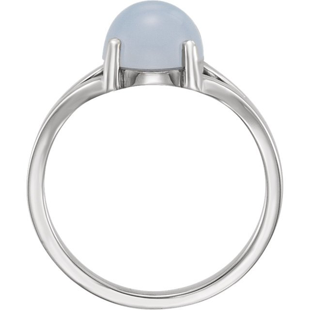 14KT Yellow Gold 8mm Round Blue Chalecedony Cabochon Ring