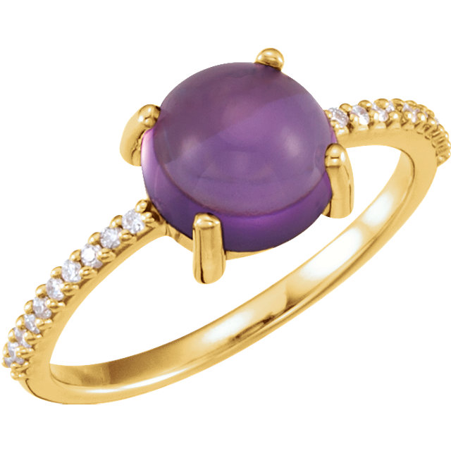 Gorgeous 14 Karat Yellow Gold 8mm Round Cabochon Amethyst & 0.10 Carat Total Weight Diamond Ring