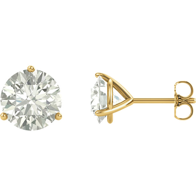 14KT Yellow Gold 8mm Round Forever Classic Moissanite Earrings