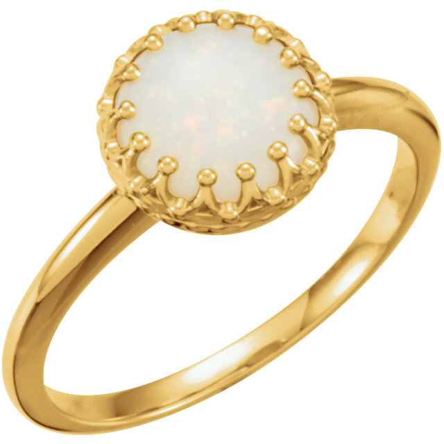 Great Buy in 14 Karat Yellow Gold 8mm Round Opal Ring