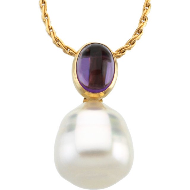 14KT Yellow Gold 8X6mm Amethyst & 12mm South Sea Cultured Circle Pearl Pendant