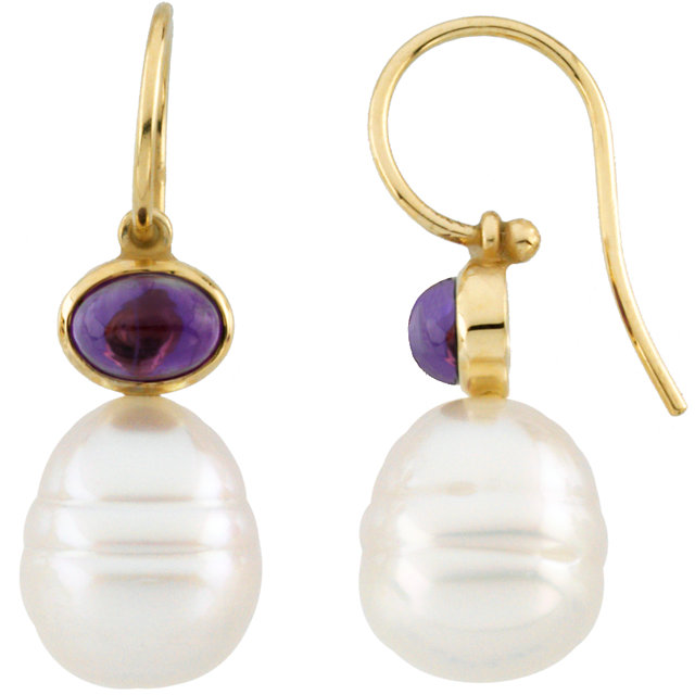 14KT Yellow Gold 8x6mm Amethyst Semi-set Earrings for Pearls