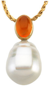 14KT Yellow Gold 8x6mm Carnelian Semi-set Pendant for Pearl