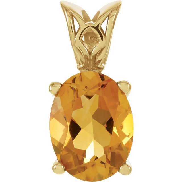 Chic 14 Karat Yellow Gold 8x6mm Citrine Pendant