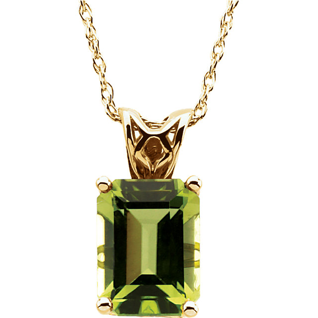 14KT Yellow Gold 8x6mm Emerald Peridot 18