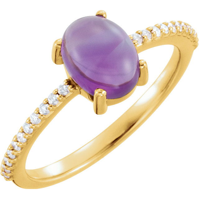 Great Deal in 14 Karat Yellow Gold 8x6mm Oval Cabochon Amethyst & 0.10 Carat Total Weight Diamond Ring