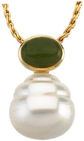 14KT Yellow Gold 8x6mm Oval Nephrite Jade Dangle Pendant