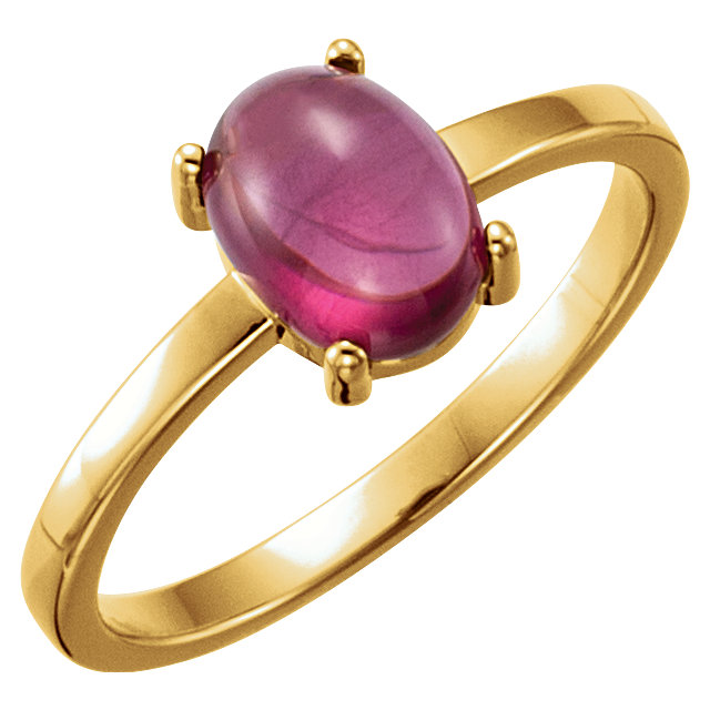 Jewelry Find 14 KT Yellow Gold 8x6mm Oval Rhodolite Garnet Cabochon Ring