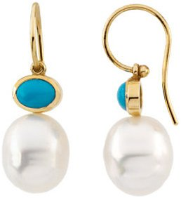 14KT Yellow Gold 8x6mm Turquoise Semi-set Earrings for Pearls