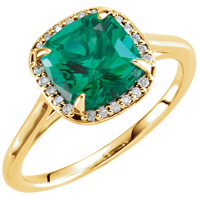 14 Karat Yellow Gold Genuine Chatham Emerald & .055 Carat Diamond Ring