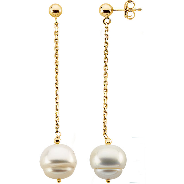 Genuine 14 Karat Yellow Gold 9-11mm Freshwater Pearl Dangle Earrings