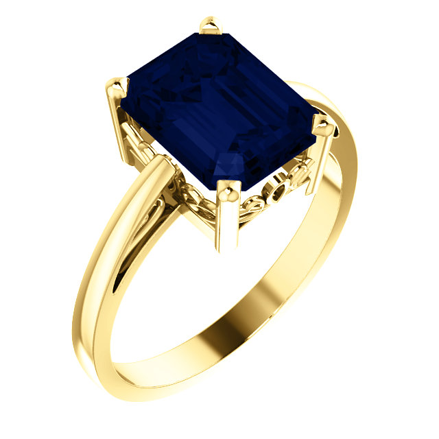 Genuine Chatham Created Sapphire Ring in 14 Karat Yellow Gold 9x7mm Scroll Setting Ring Mounting